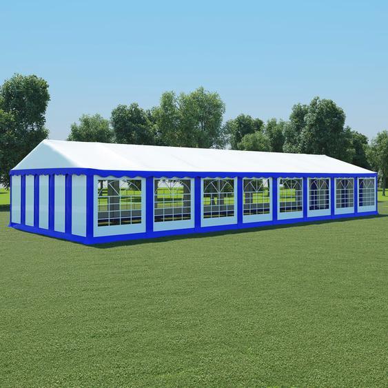 Gartenzelt PVC 6x16 m Blau und Weiß