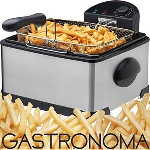 Gastronoma 16290039 Kaltzonen Fritteuse 4 Liter 3 Körbe 2000 Watt inox Edelstahl