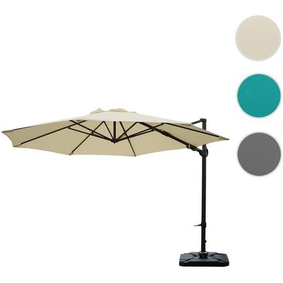 Gastronomie-Ampelschirm HWC-A39, Sonnenschirm, schwenkbar drehbar � 3,5m Polyester/Alu 34kg ~ creme mit St�nder