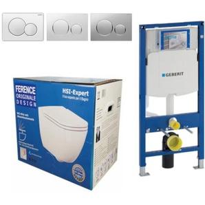 Geberit Vorwandelement UP320 + Ference WC + Drückerplatte + WC-Sitz Sigma01 weiß