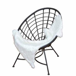 Geflecht Sessel in Schwarz Kunststoff Retro Look