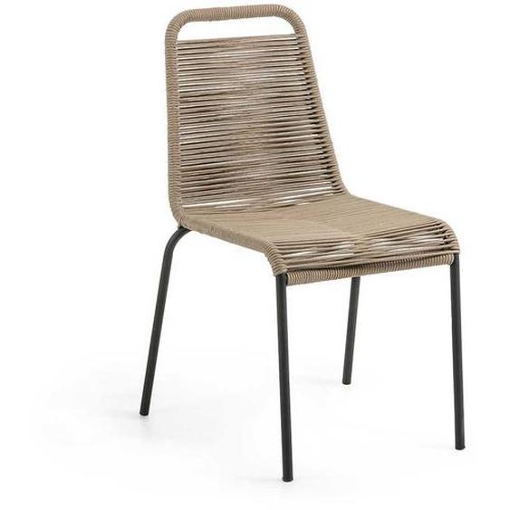 Geflecht Stühle in Hellbraun und Schwarz 45 cm Sitzhöhe (4er Set)