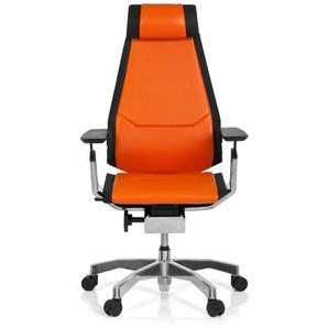 GENIDIA PRO Leder - High End Bürostuhl Orange / Schwarz