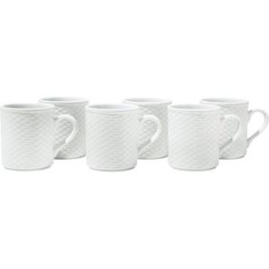Gepolana Kaffeebecher in Flechtoptik weiß 6-teilig