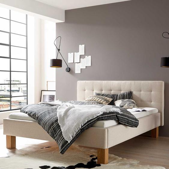 Gepolstertes Bett in Beige Webstoff 160x200 cm