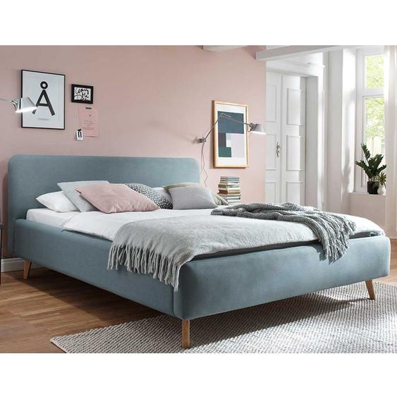 Gepolstertes Bett in Hellblau Webstoff modern