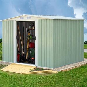 Gerätehaus Gartenhaus Lagerschuppen Geräteschuppen mit Schiebetür Grün Metall 205 x 257 x 175,5 cm