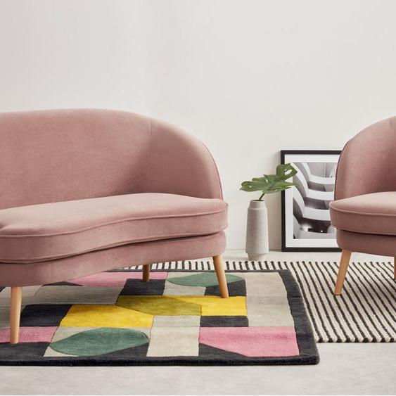Gertie 2-Sitzer Sofa, Samt in Vintagerosa
