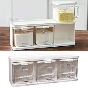 GewürzbehäLter, Gewürzbox mit Gewürzflasche, Flip Cover Design, Separate 3 Fächer, Top Nut Design