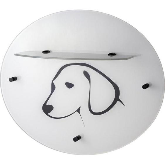 GGG MÖBEL Garderobenpaneel »Hund«, aus Glas mit Ablage