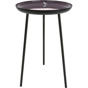 GILDE Beistelltisch Tisch Celeste, Dreibein, Höhe 49 cm, rund, Ø 28 aus Metall, schwarz mit farbiger Stellfläche, modern, Wohnzimmer B/H/T: cm x lila Beistelltische Tische