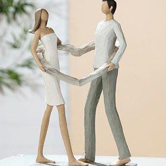 GILDE Dekofigur »Skulptur Liebespaar Herz-Ring« (1 Stück), Dekoobjekt, Höhe 25,5 cm, handbemalt, mit Herz, romantisch, handbemalt, Wohnzimmer