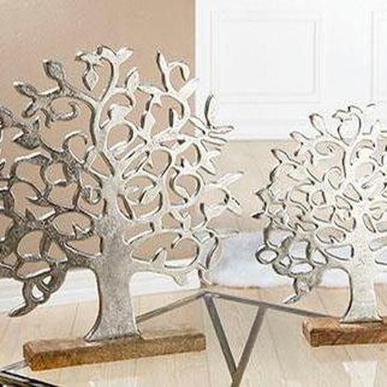 GILDE Dekoobjekt »Lebensbaum auf Holzbase« (1 Stück), Höhe 46 cm, aus Metall, Sockel aus Holz, Wohnzimmer