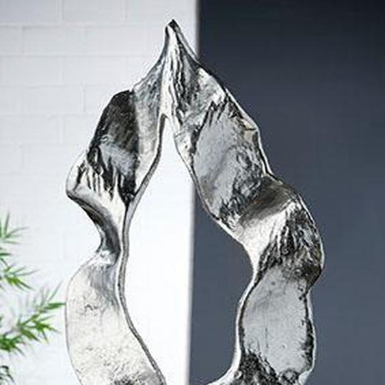GILDE Dekoobjekt »Skulptur Flamme, silberfarben« (1 Stück), Höhe 56 cm, aus Metall, Wohnzimmer