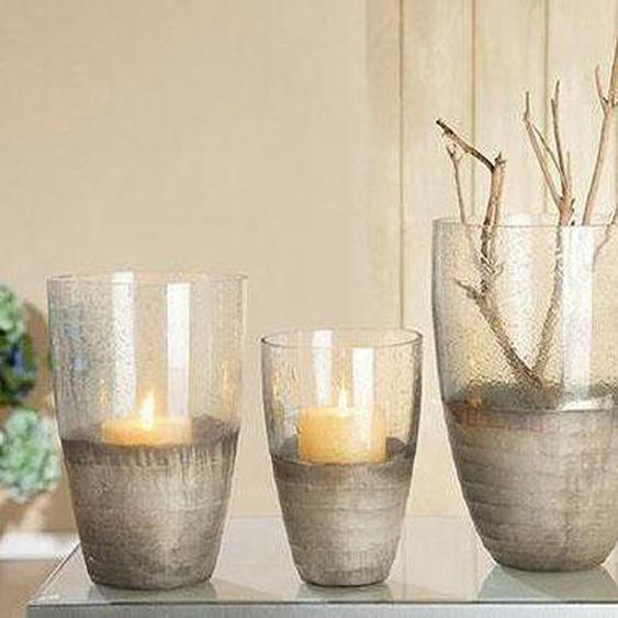 GILDE Windlicht Glas Windlicht, 26x18,5x26 cm farblos Kerzenhalter Kerzen Laternen Wohnaccessoires