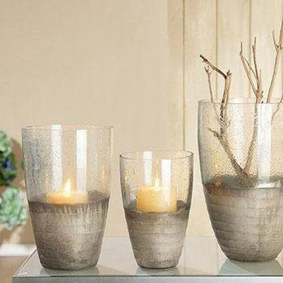 GILDE Windlicht Oro, Glas 18x15,5x21,5 cm farblos Kerzenhalter Kerzen Laternen Wohnaccessoires