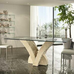 Glas Esstisch mit Steinfu� V-Form Beige