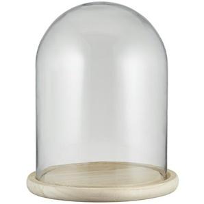 Glasglocke mit Holztablett - holzfarben - Glas , Holz - 28 cm | Möbel Kraft