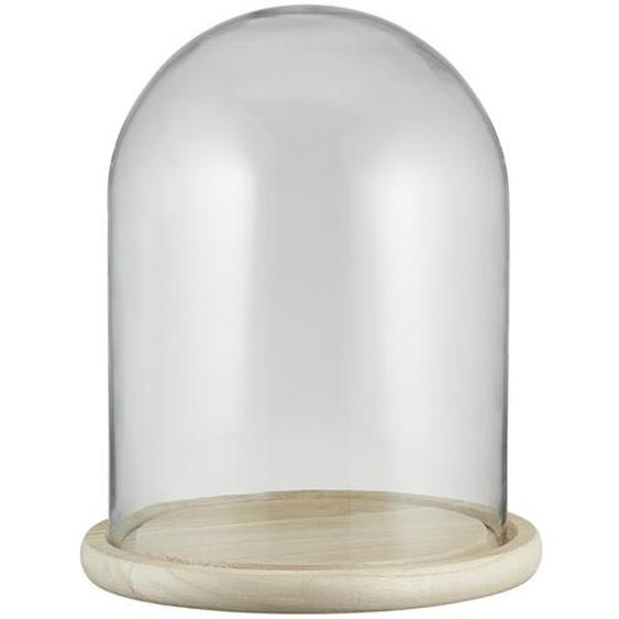 Glasglocke mit Holztablett - holzfarben - Holz, Glas | Möbel Kraft