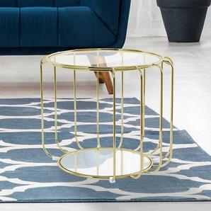 Glastisch in Goldfarben rund