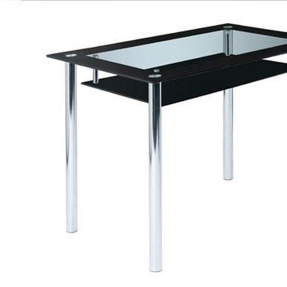Glastisch in Schwarz/Klar-Glas  mit 2. Glasplatten für Ablage, Maße: B/H/T ca. 110/75/70 cm