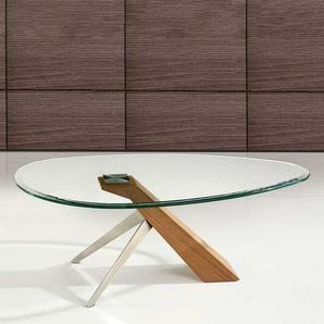 Glastisch in Walnussfarben ovaler Platte