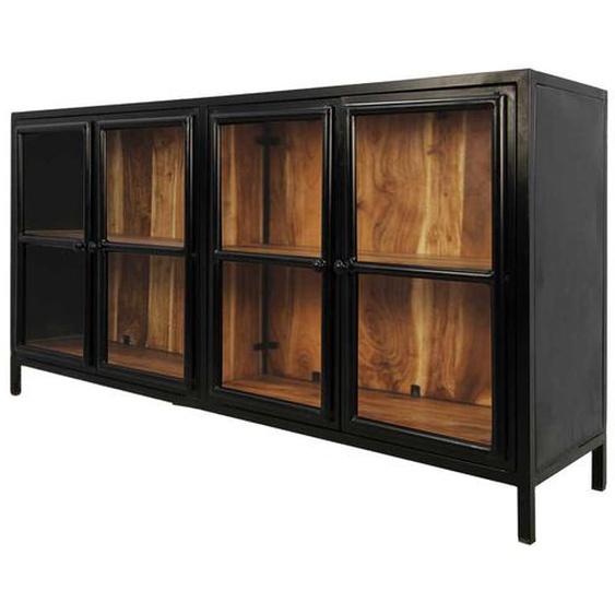 Glastüren Sideboard aus Akazie Massivholz und Eisen 170 cm breit