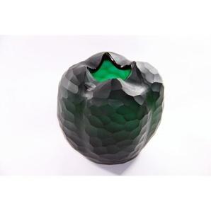 Glasvase rund Blumengefäß Deko Tischvase Moonlight Höhe 18cm grün Handmade