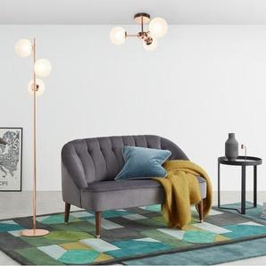 Globe Stehlampe, Kupfer und Milchglas