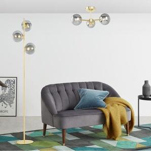 Globe Stehlampe, Messing und Rauchglas