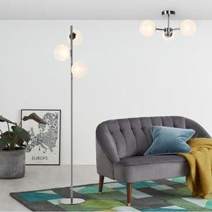 Globe Stehlampe, Milchglas und Schwarz