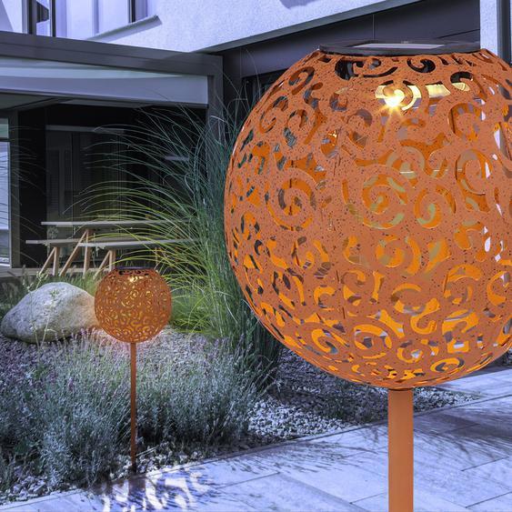 Globo LED-Solarkugel Rostfarbig H: 54 cm 0,06 W