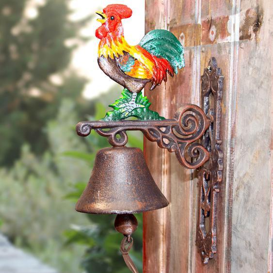Glocke für Landhaus und Hof, Türglocke mit großem Hahn, Gartenglocke, Huhn