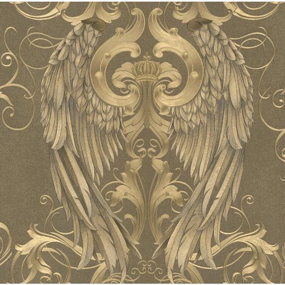 Glööckler Vliestapete Imperial Engelsflügel mit Krone Gold