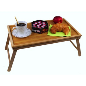 GMMH Original Laptop Tablett Bambus Unterlage Klapp Tisch Betttablett Frühstückstablett Serviertablett klappbar Bett Tisch Tablett