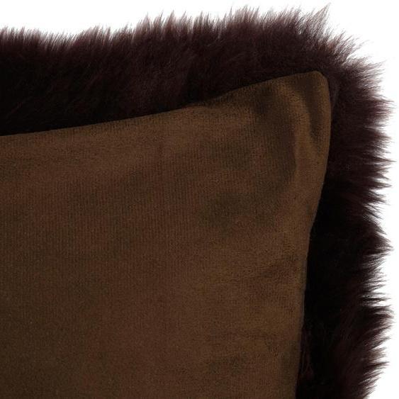 Gözze Kissenhülle Schaffell, (1 St.), mit Reißverschluss 1x 40x40 cm, Polyester Schaffell braun Kissenbezüge uni Kissen