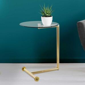 Goldfarbener Beistelltisch mit runder Glasplatte rollbar
