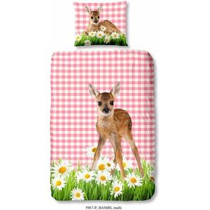 Good Morning Kinderbettwäsche »Bambi«, 80x80 cm, aus 100% Baumwolle, pflegeleicht, trocknergeeignet, bunt