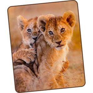Good Morning Wohndecke »Baby Lion«, 130x160 cm, bunt