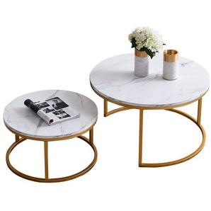 Gotui Couchtisch »2er Set«, Beistelltisch-Set rund, Moderne Sofatische, minimalistisch, Couchtische mit Goldene Metallbeine, Tischkombination fürs Wohnzimmer, Balkon, klein Satztisch Set