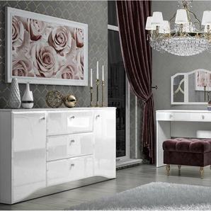 Grace Schlafzimmerset Weiß Weiß Hochglanz