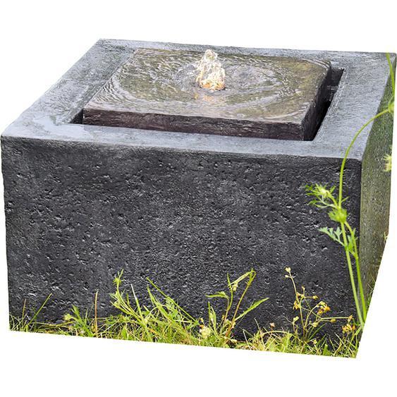 Granimex Wasserspiel Quader Polyresin Anthrazit 50 cm x 50 cm x 30 cm