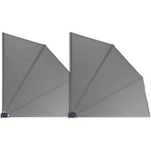 Grasekamp 2 Stück Balkonfächer Grau Premium 140 x 140 cm mit Wandhalterung Trennwand Sichtschutz