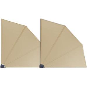 Grasekamp 2 Stück Balkonfächer Sand Premium 140 x 140 cm mit Wandhalterung