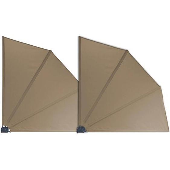 Grasekamp 2 Stück Balkonfächer Taupe Premium 140 x 140 cm mit Wandhalterung