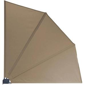 Grasekamp Balkonfächer Premium 140x140cm Taupe mit Wandhalterung