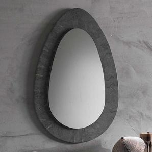Grauer Flurspiegel mit Steinrahmen ovale Form