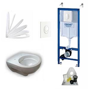 Grohe Vorwandelement + Keramag Renova Nr. 1 + Drückerplatte + WC-Sitz + Beschichtung