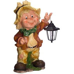 Großer Gartenwichtel mit Solarlampe NF12168-1 , riesig 53 cm hoch , Gartenfigur, Deko Kinder Wichtel mit Strohhut mit LED Solar Lampe, schön und aufwendig gearbeitet, Dekorationsfigur für Innen und Außen, Polyresin , Gartendekoration, Gartenfigur,