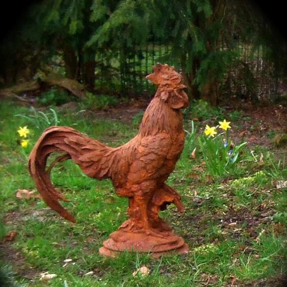 Großer Hahn, rustikal Garten Skulptur als Eingangs-Deko, Hof-Hahn in Rost-Optik